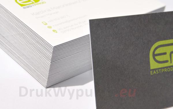Wizytówki z dwukolorowego, kaszerowanego papieru